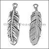 LARGE FEATHER euro charm ANT SILVER - per 10 pieces