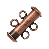 2 ring SLIDE clasp ANT COPPER - per 36 pieces