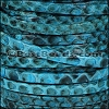 5mm flat PYTHON leather CYAN - per 1 meter