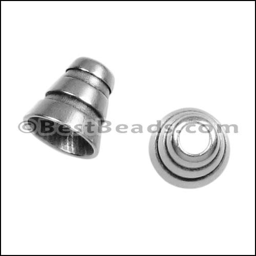 Mm cone knot end cap ant silver per pieces