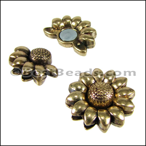 Gt 10mm flat sunflower magnetic clasp ant brass per 10 clasps