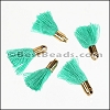 18mm GOLD : TEAL Tassel - per 10 pieces