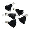18mm SILVER : BLACK Tassel - per 10 pieces