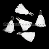 18mm SILVER : WHITE Tassel - per 10 pieces