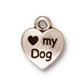 love my dog charm ANTIQUE SILVER