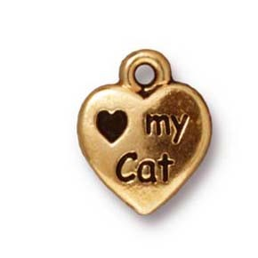 love my cat charm ANTIQUE GOLD