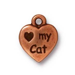 love my cat charm ANTIQUE COPPER