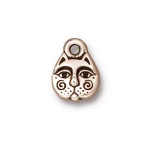kittyface charm ANTIQUE SILVER