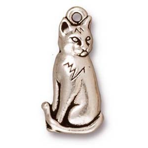 sitting cat charm ANTIQUE SILVER