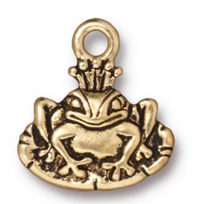 frog prince charm ANTIQUE GOLD