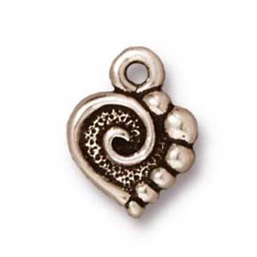 spiral heart charm ANTIQUE SILVER
