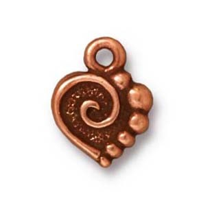 spiral heart charm ANTIQUE COPPER