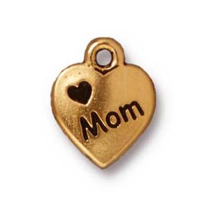 love mom charm ANTIQUE GOLD