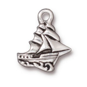 clipper ship charm ANTIQUE SILVER