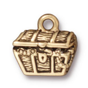 treasure chest charm ANTIQUE GOLD