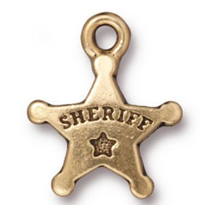 sheriff's badge charm ANTIQUE GOLD
