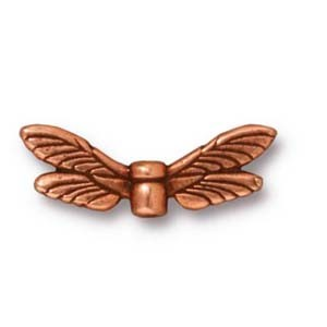 dragonfly wings bead ANTIQUE COPPER tone
