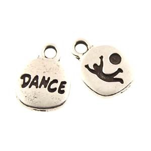 dance GLUE-IN charm ANTIQUE SILVER