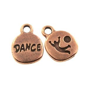 dance GLUE-IN charm ANTIQUE COPPER