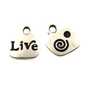 live GLUE-IN charm ANTIQUE SILVER