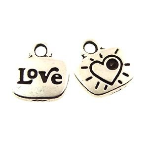 love GLUE-IN charm ANTIQUE SILVER