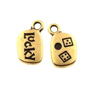 lucky GLUE-IN charm ANTIQUE GOLD